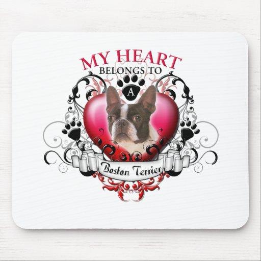 Mi corazón pertenece a una Boston Terrier Alfombrilla De Ratón