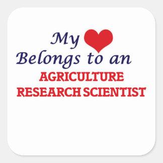 Mi corazón pertenece a una investigación Scient de Pegatina Cuadrada