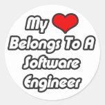Mi corazón pertenece a una Software Engineer Pegatina Redonda