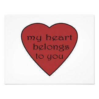 Mi corazón pertenece a usted invitaciones personales