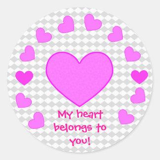 Mi corazón pertenece a usted los pegatinas pegatina redonda