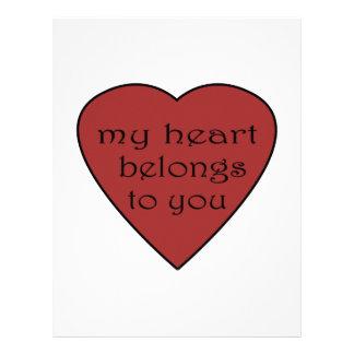Mi corazón pertenece a usted membrete a diseño