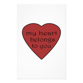 Mi corazón pertenece a usted papelería personalizada