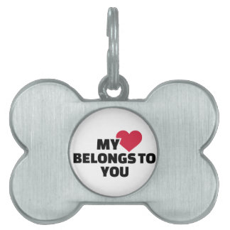 Mi corazón pertenece a usted placa mascota