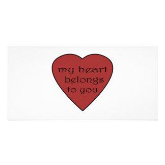 Mi corazón pertenece a usted tarjeta con foto personalizada