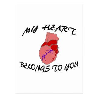 Mi corazón pertenece a usted tarjeta postal