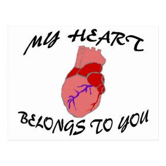 Mi corazón pertenece a usted postales