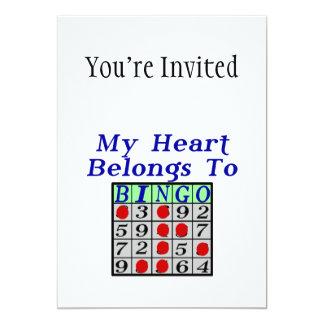 """Mi corazón pertenece al bingo invitación 5"""" x 7"""""""