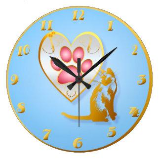 Mi corazón pertenece al camisetas del gatito reloj redondo grande