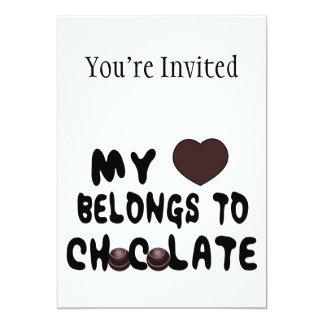 """Mi corazón pertenece al chocolate invitación 5"""" x 7"""""""