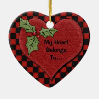 """""""Mi corazón pertenece"""" al corazón personalizado de Adornos De Navidad"""