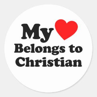Mi corazón pertenece al cristiano etiqueta redonda