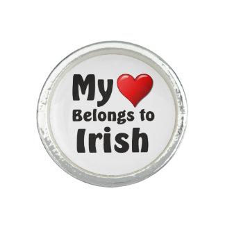Mi corazón pertenece al irlandés anillo con foto