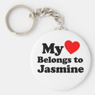 Mi corazón pertenece al jazmín llavero redondo tipo pin