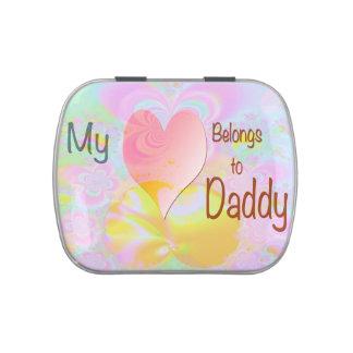 Mi corazón pertenece al papá latas de dulces