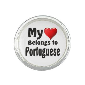 Mi corazón pertenece al portugués anillos con foto