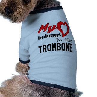 Mi corazón pertenece al Trombone. Camiseta Con Mangas Para Perro