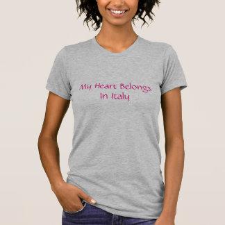Mi corazón pertenece en camiseta de las señoras de