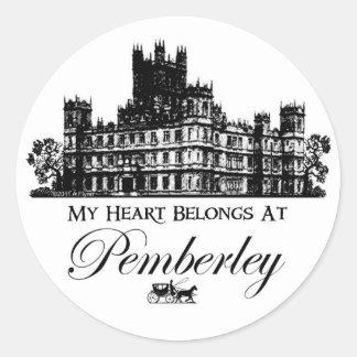 Mi corazón pertenece en Pemberley Pegatina Redonda