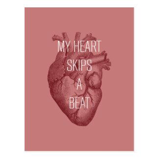 Mi corazón salta un golpe tarjetas postales