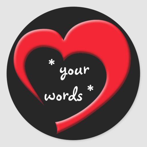 Mi corazón, su pegatina de las palabras (rojo en