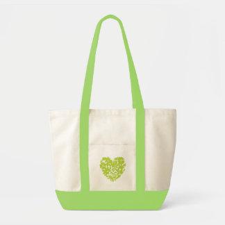 Mi corazón va bolso verde bolsas lienzo