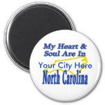 Mi corazón y alma están en Carolina del Norte Imanes Para Frigoríficos