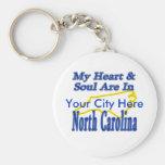 Mi corazón y alma están en Carolina del Norte Llaveros Personalizados