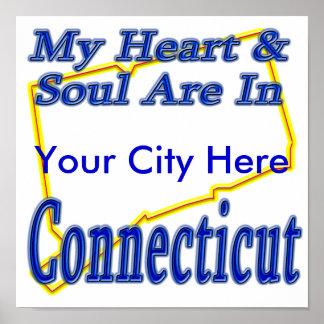 Mi corazón y alma están en Connecticut Posters