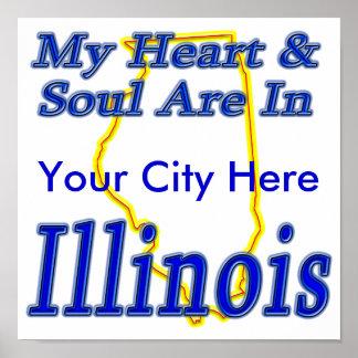 Mi corazón y alma están en Illinois Poster
