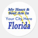 Mi corazón y alma están en la Florida Pegatinas Redondas