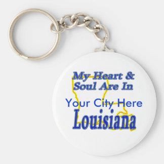 Mi corazón y alma están en Luisiana Llavero Redondo Tipo Pin