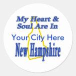 Mi corazón y alma están en New Hampshire Etiqueta Redonda