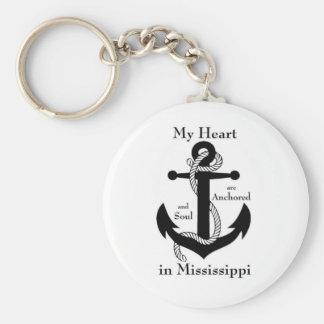 Mi corazón y alma se anclan en Mississippi Llavero Redondo Tipo Pin