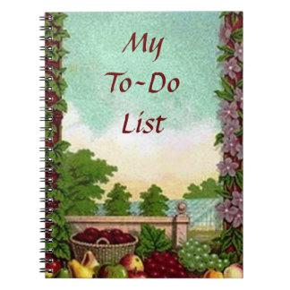 Mi cuaderno de la lista de lío - cosecha del vinta