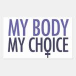 Mi cuerpo mi opción rectangular pegatinas