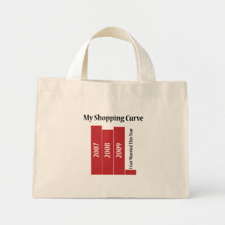 Mi curva de las compras bolsa de tela pequeña