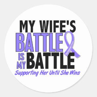 Mi de la batalla cáncer del esófago de la esposa pegatina redonda