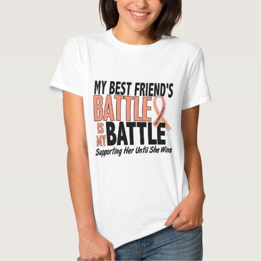 Mi de la batalla cáncer uterino del mejor amigo playeras