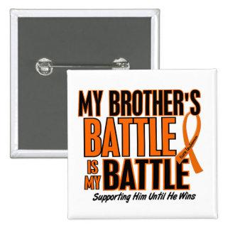 Mi de la batalla leucemia de Brother también Pin Cuadrado