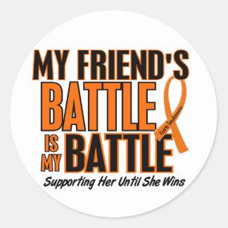 Mi de la batalla leucemia del amigo también pegatina redonda