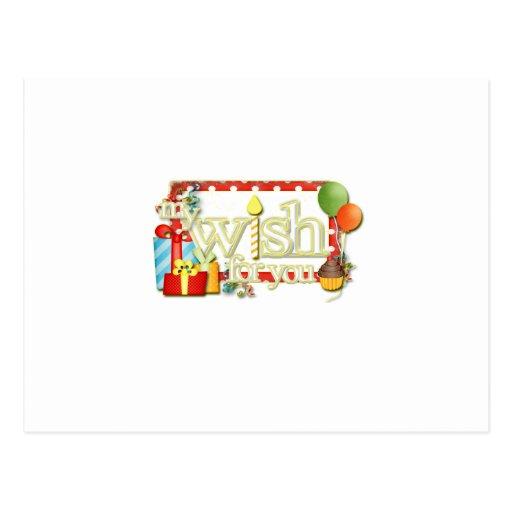 Mi deseo para usted cumpleaños del chica del arte postales