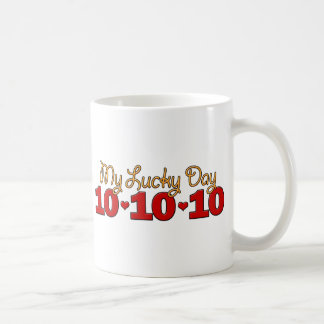 Mi día afortunado 10/10/10 taza básica blanca