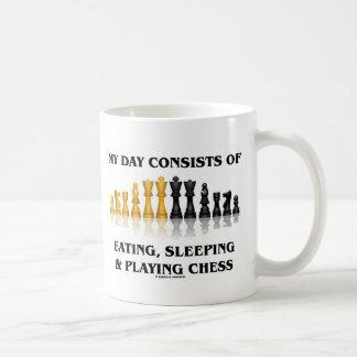 Mi día consiste en el comer, durmiendo jugando a taza clásica