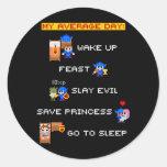 Mi día medio (RPG de 8 bits) Etiqueta Redonda