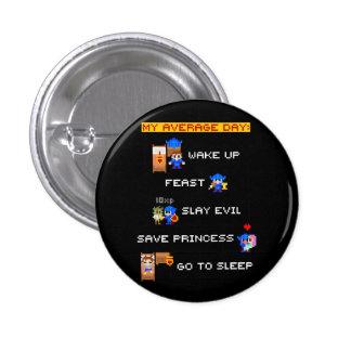 Mi día medio (RPG de 8 bits) Pin Redondo De 1 Pulgada