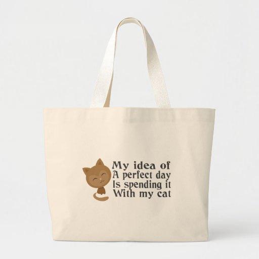 Mi día perfecto, mi gato perfecto bolsas lienzo