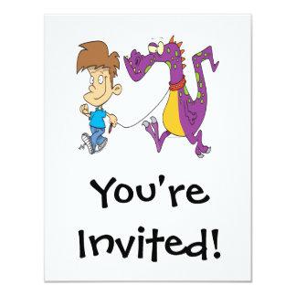 mi dibujo animado divertido del dragón del mascota invitación 10,8 x 13,9 cm