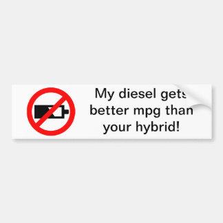 ¡Mi diesel consigue un mejor MPG que su híbrido! Pegatina De Parachoque