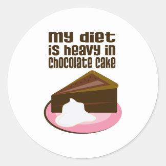 Mi dieta es pesada en chocolate pegatina redonda